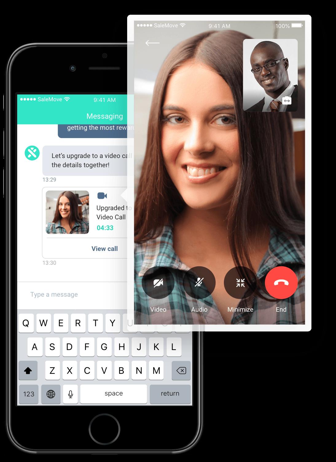 Digital in-app video call interface