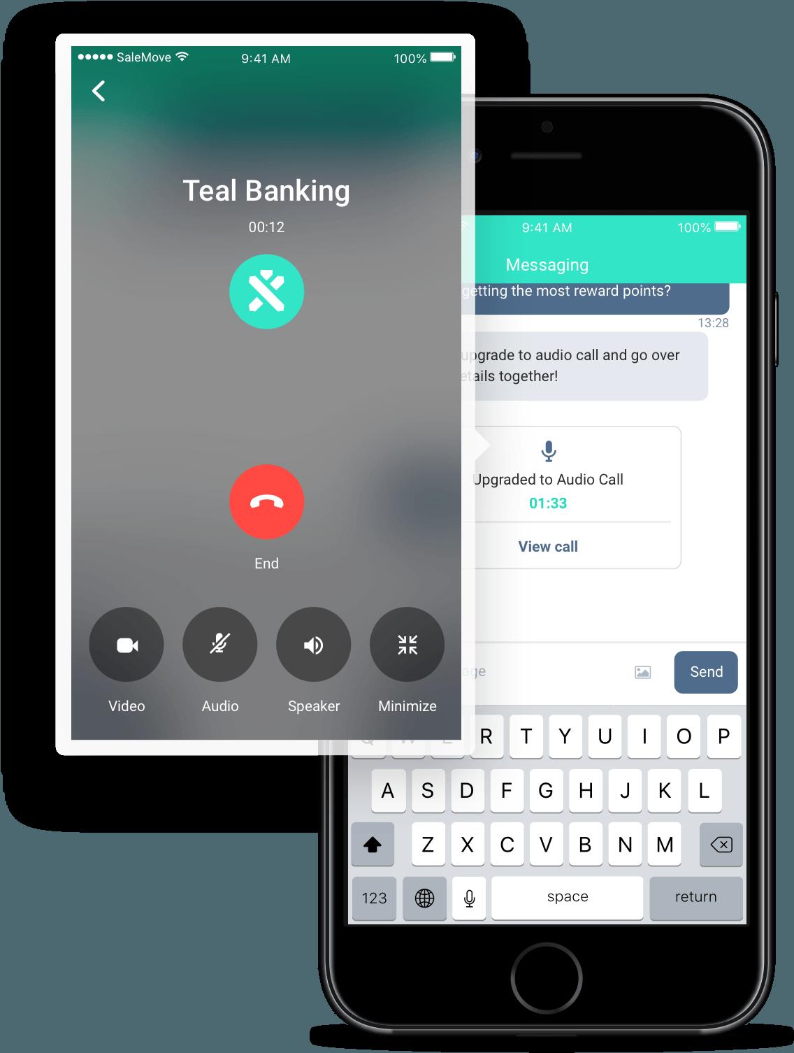 Digital in-app audio call interface