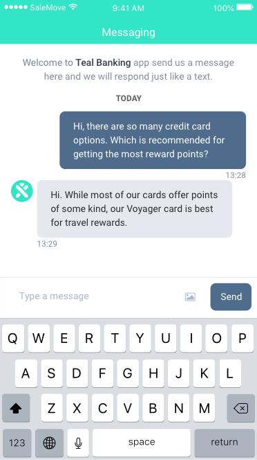 In-app messaging screenshot