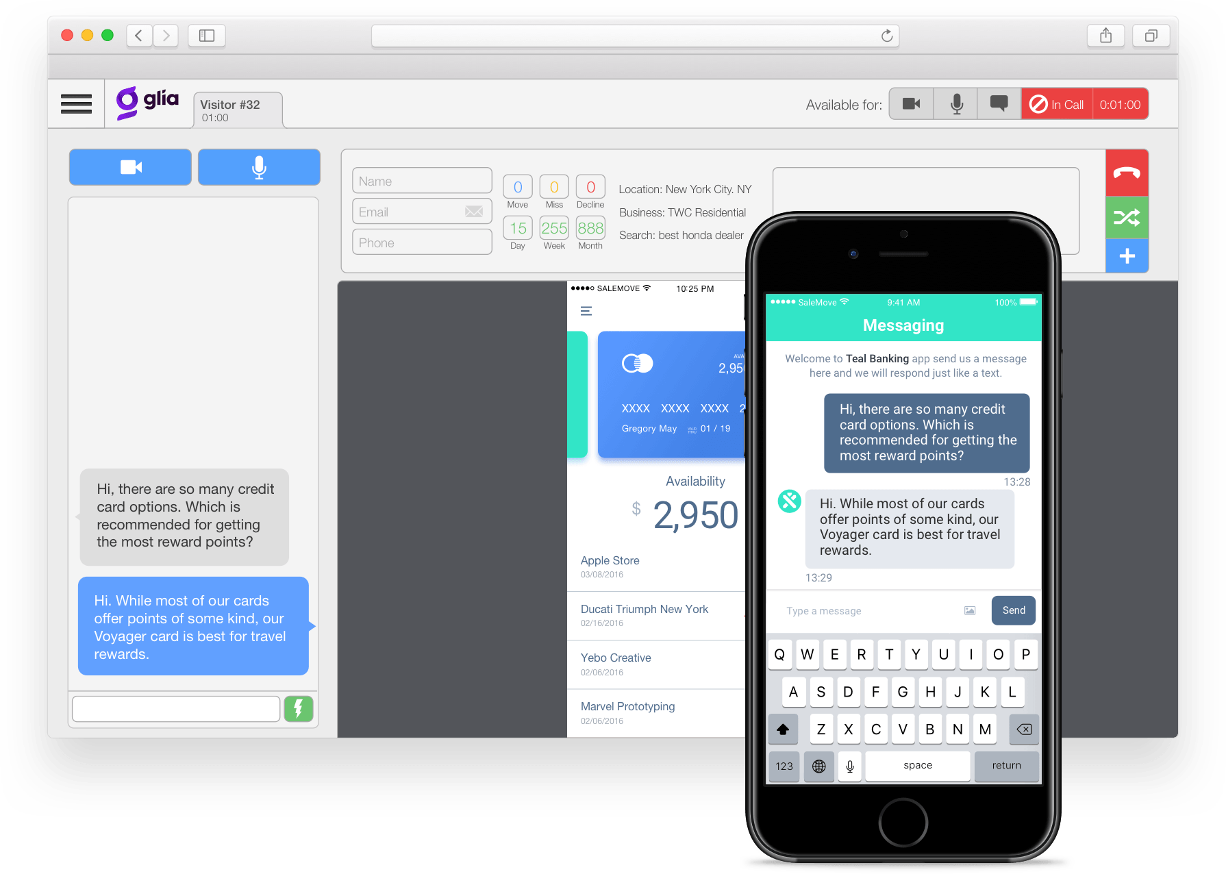 Native messaging mobile screen