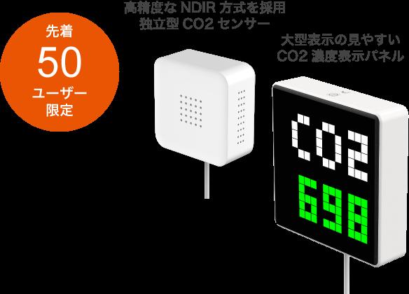 先着50ユーザー限定/CO2センサー・CO2濃度表示パネル(貸出し)