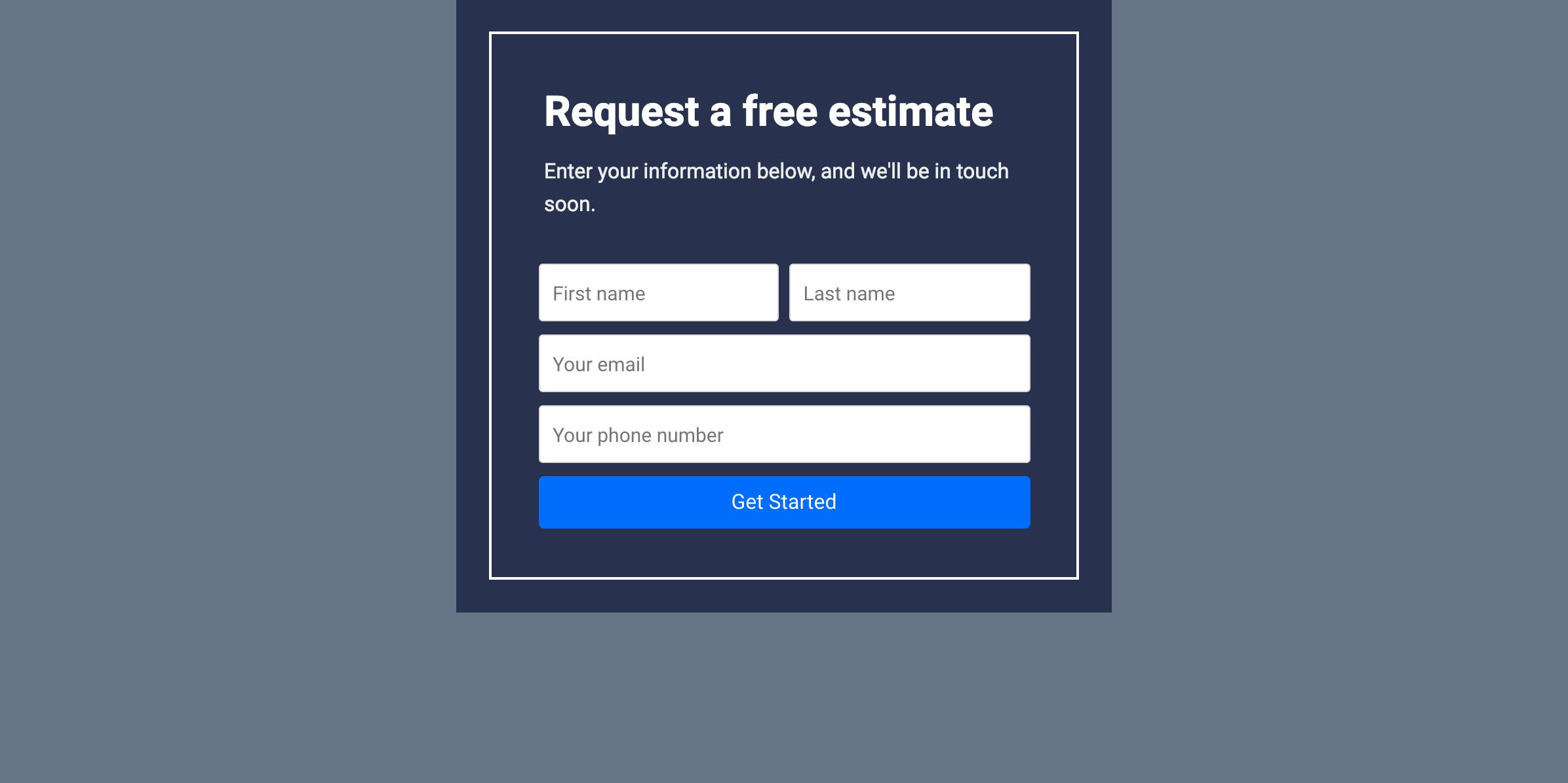 Estimate Form Template