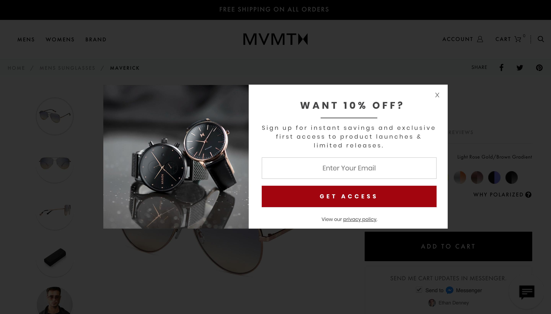 MVMT's abandon cart popup