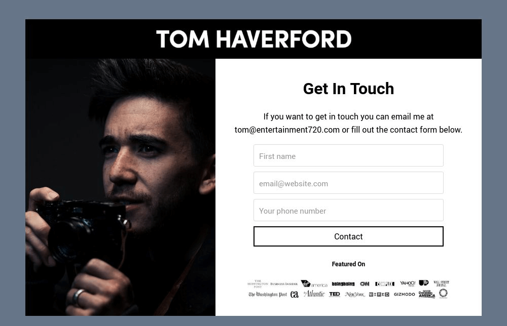 Photographer Contact Form Template