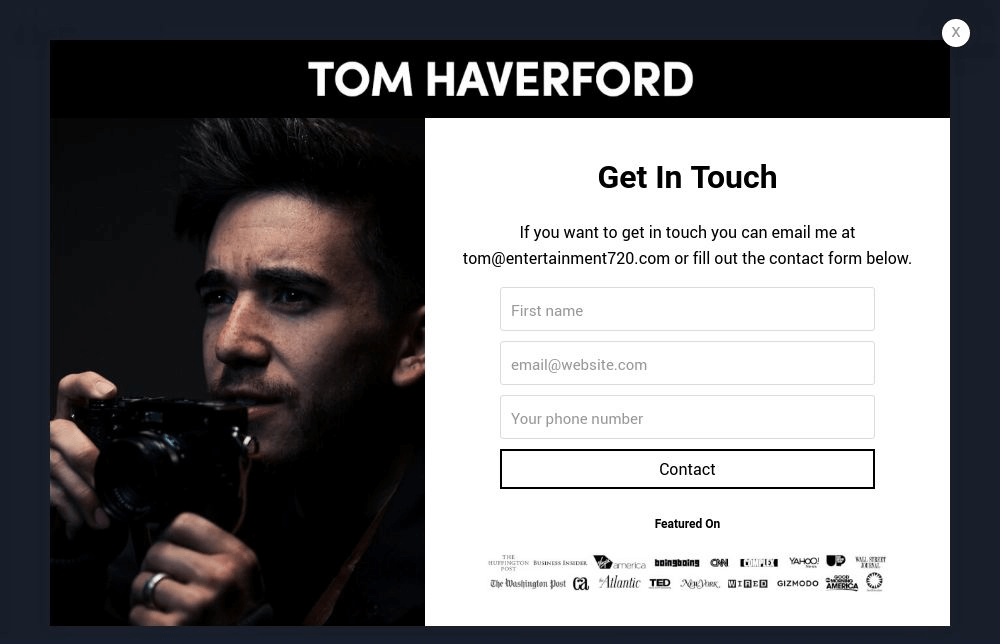Photographer Contact Form Popup Template