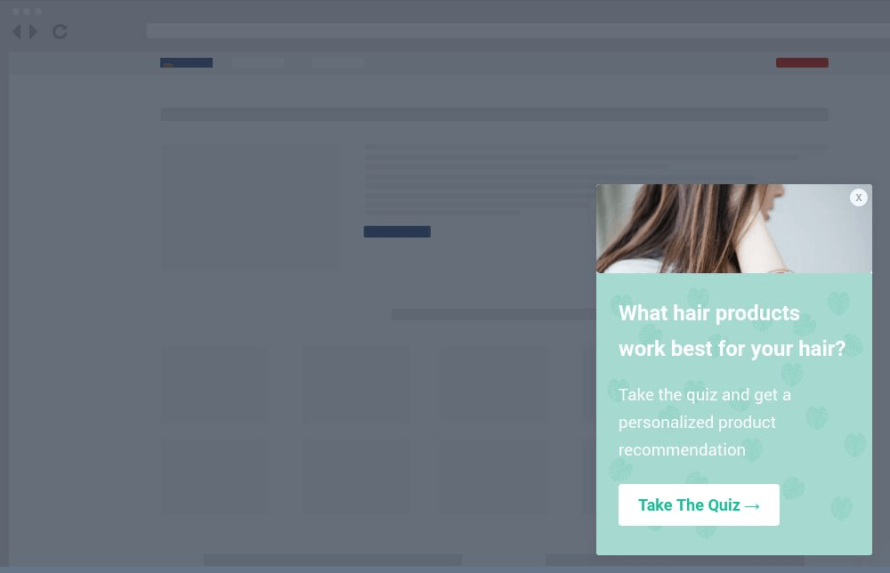 Hair Product Quiz Site Message Template