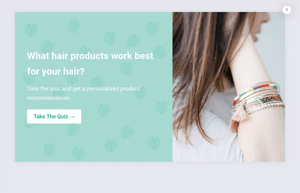 Hair Product Quiz Popup Template