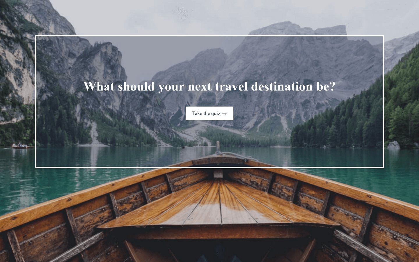 Travel Quiz Landing Page Template