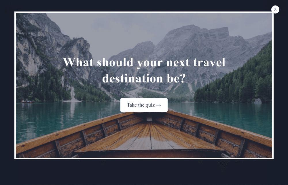 Travel Quiz Popup Template
