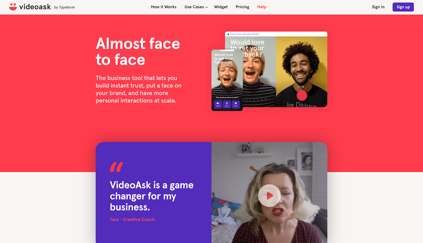 VideoAsk Landing Page Example