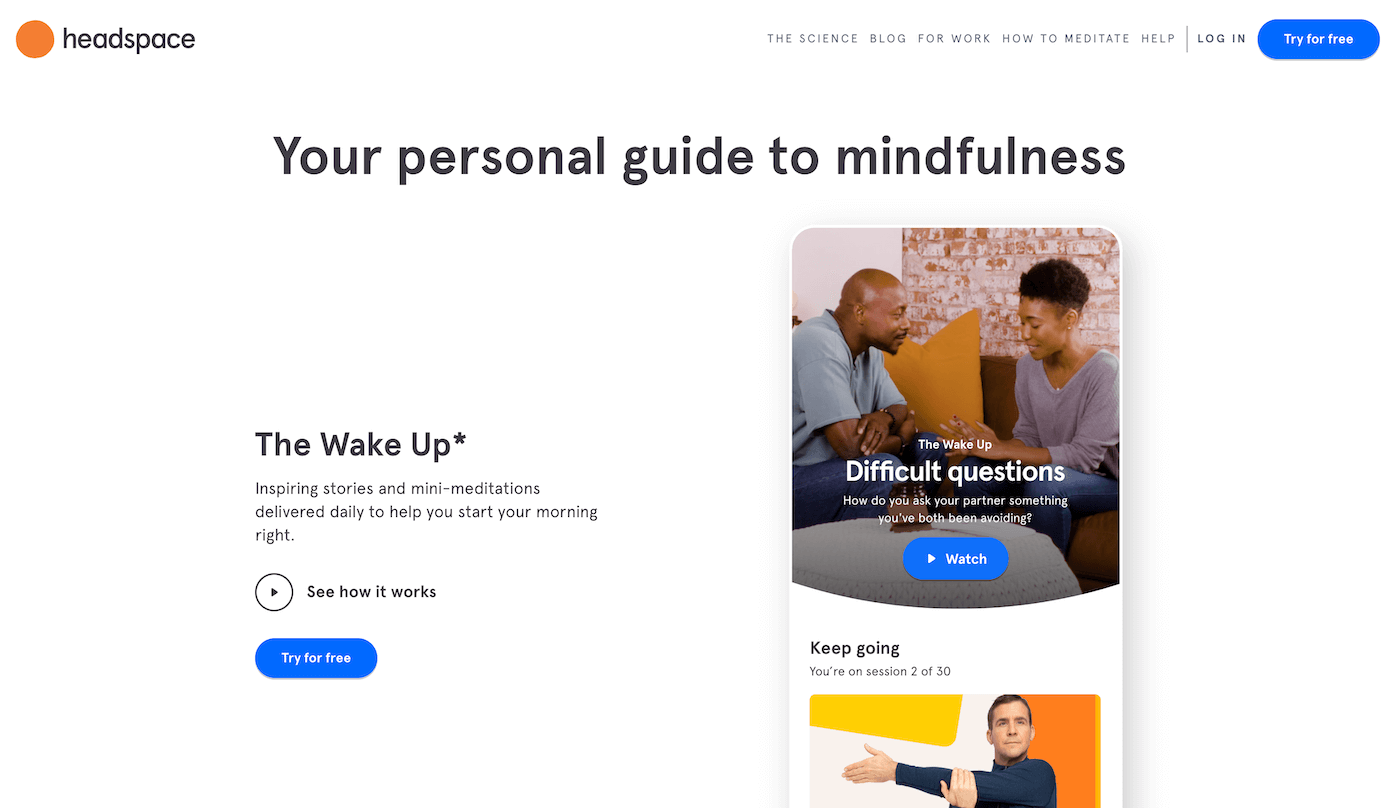 Headspace Landing Page Example
