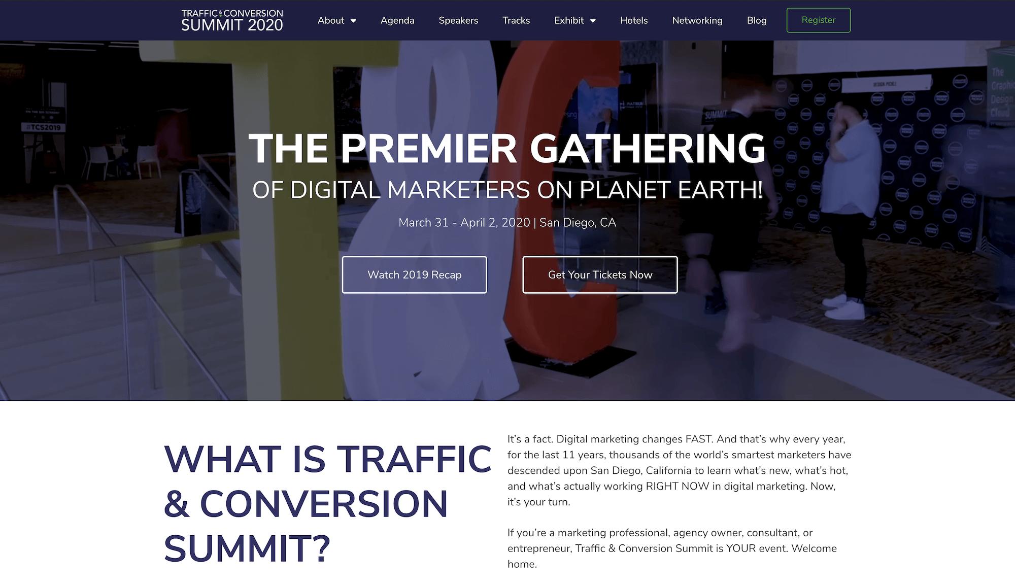 Traffic & Conversion Summit Landing Page Example