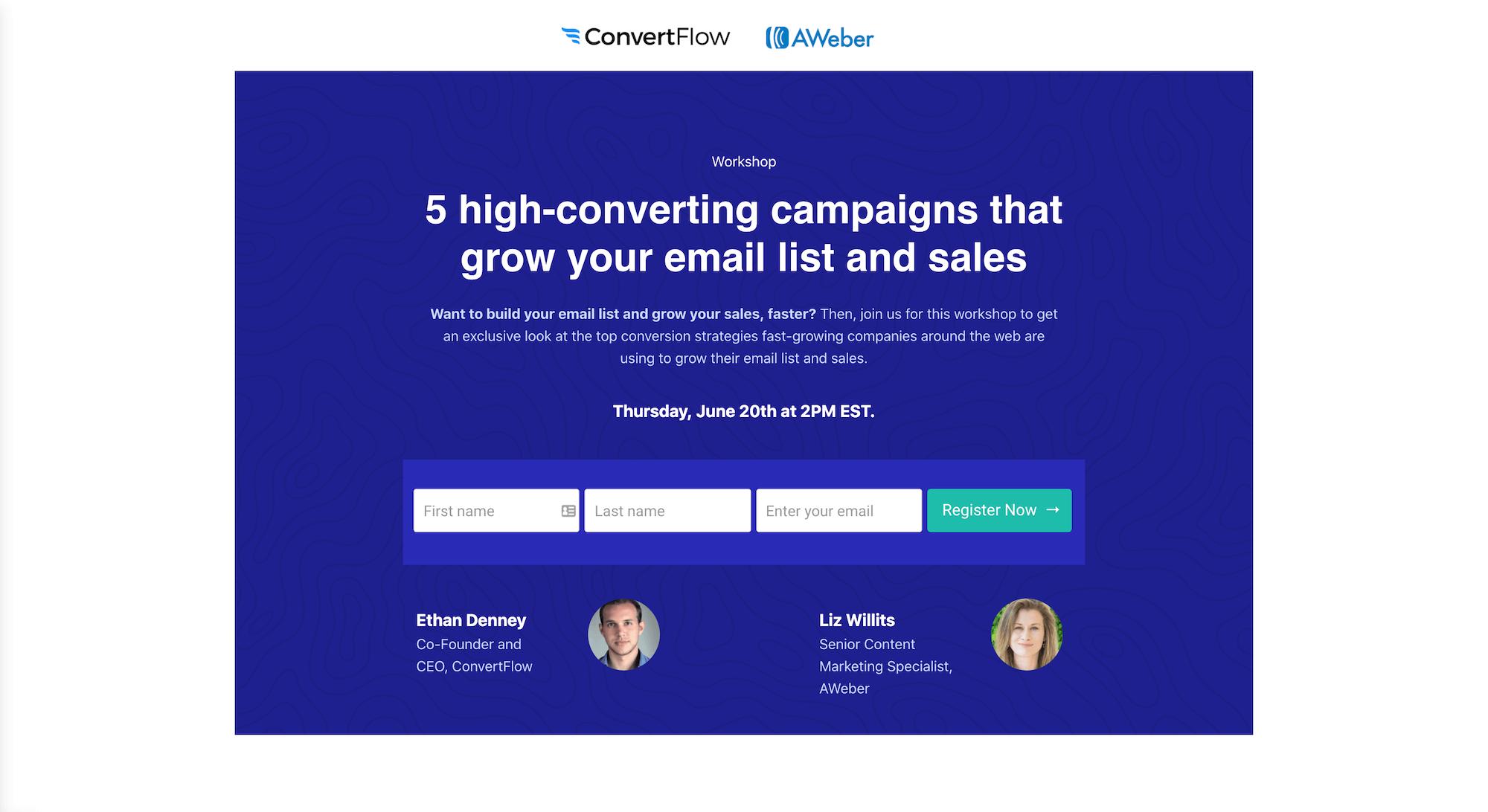 ConvertFlow & AWeber Webinar Landing Page Example