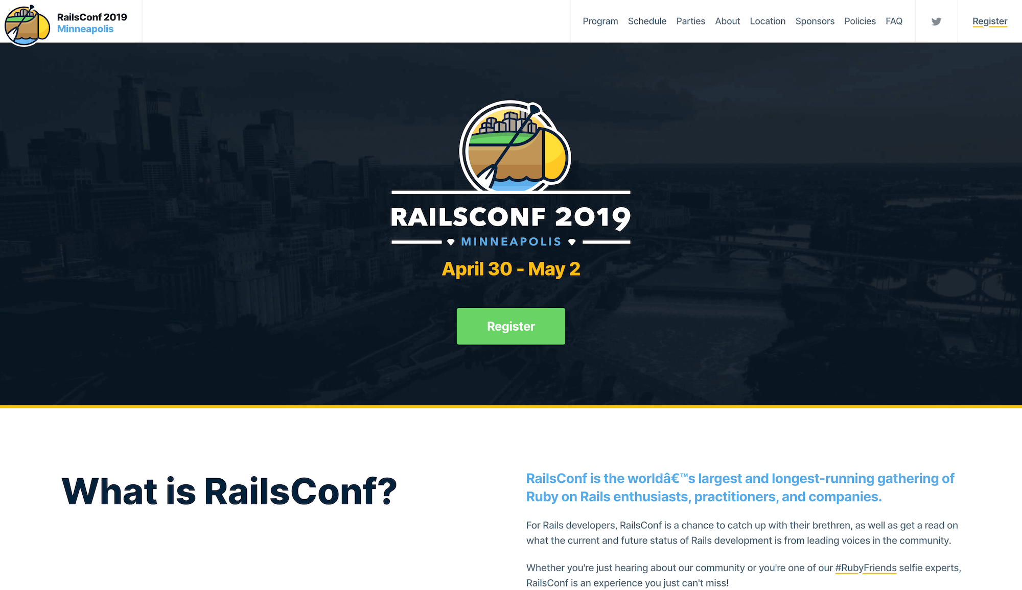 RailsConf Landing Page Example