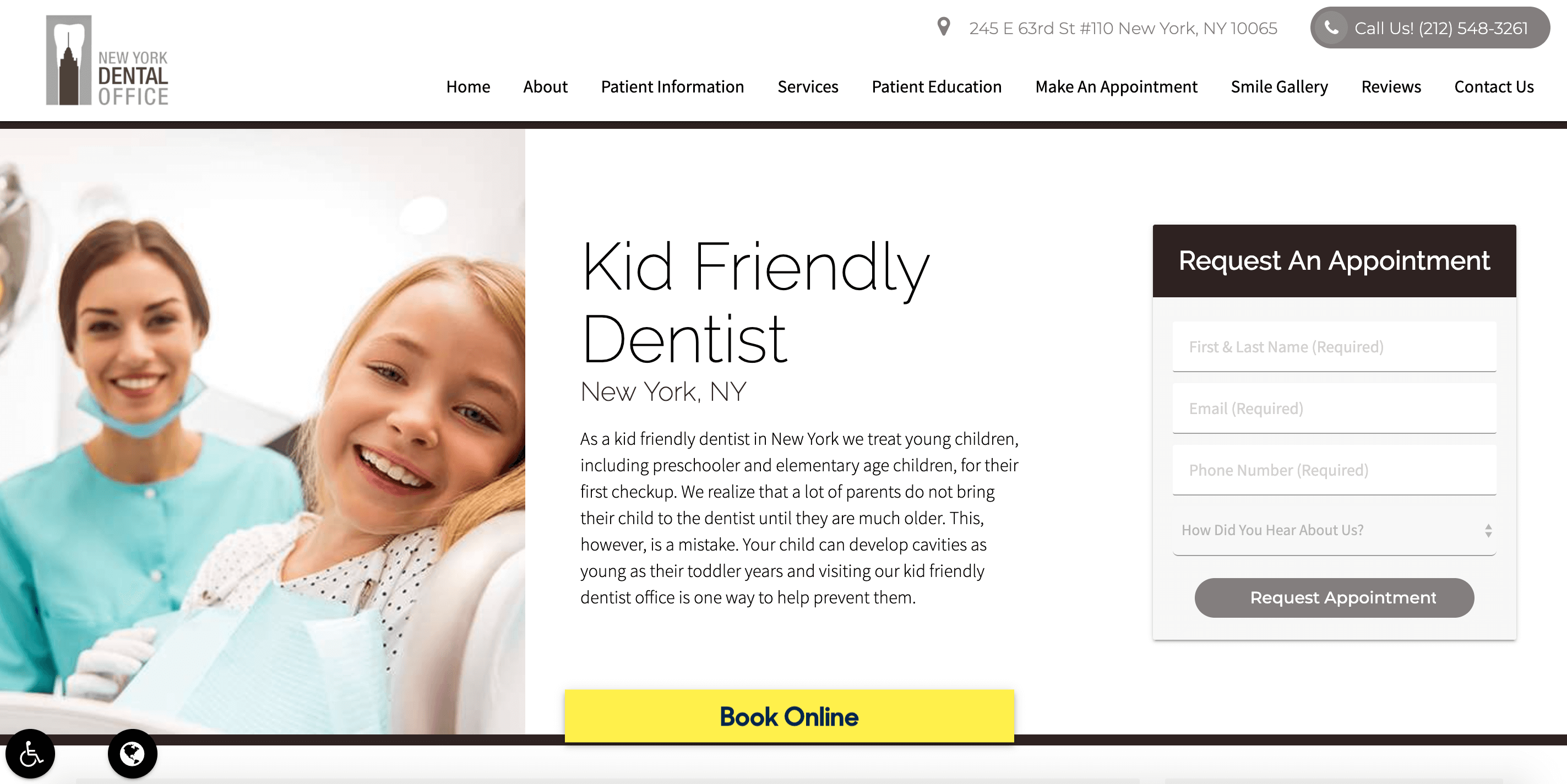 New York Dental Office Landing Page Example