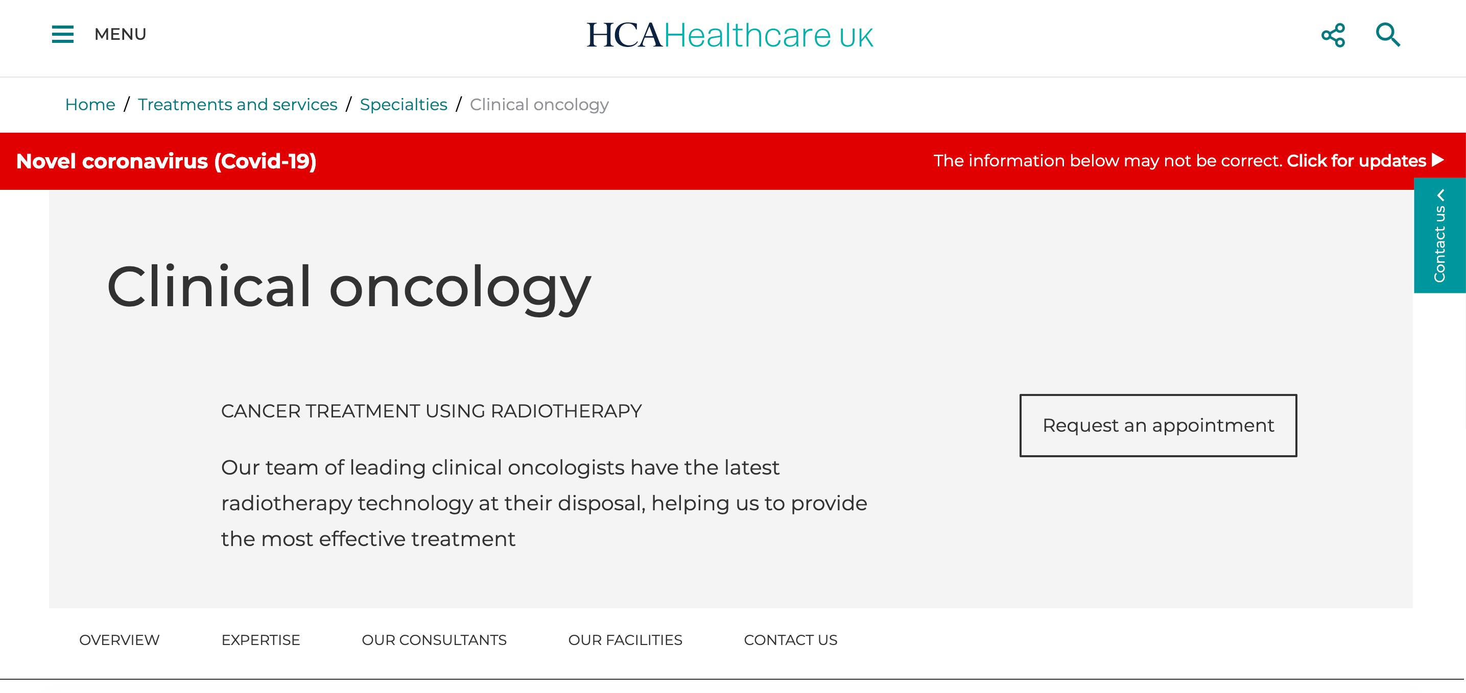 HCA Healthcare Landing Page Example