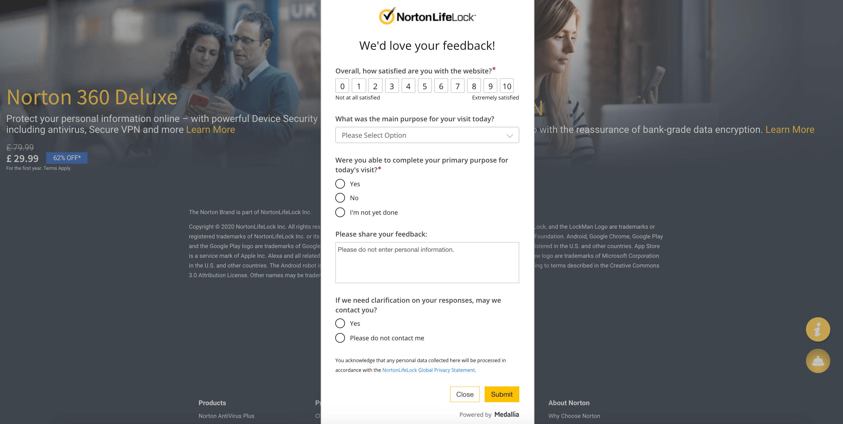Norton Website Survey Popup