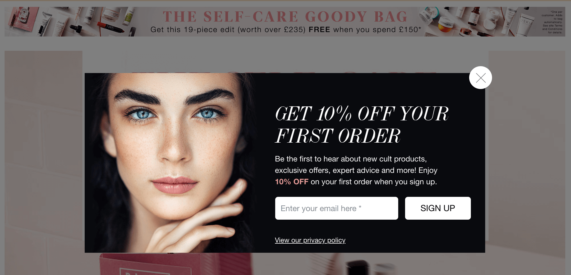 CultBeauty Email Popup