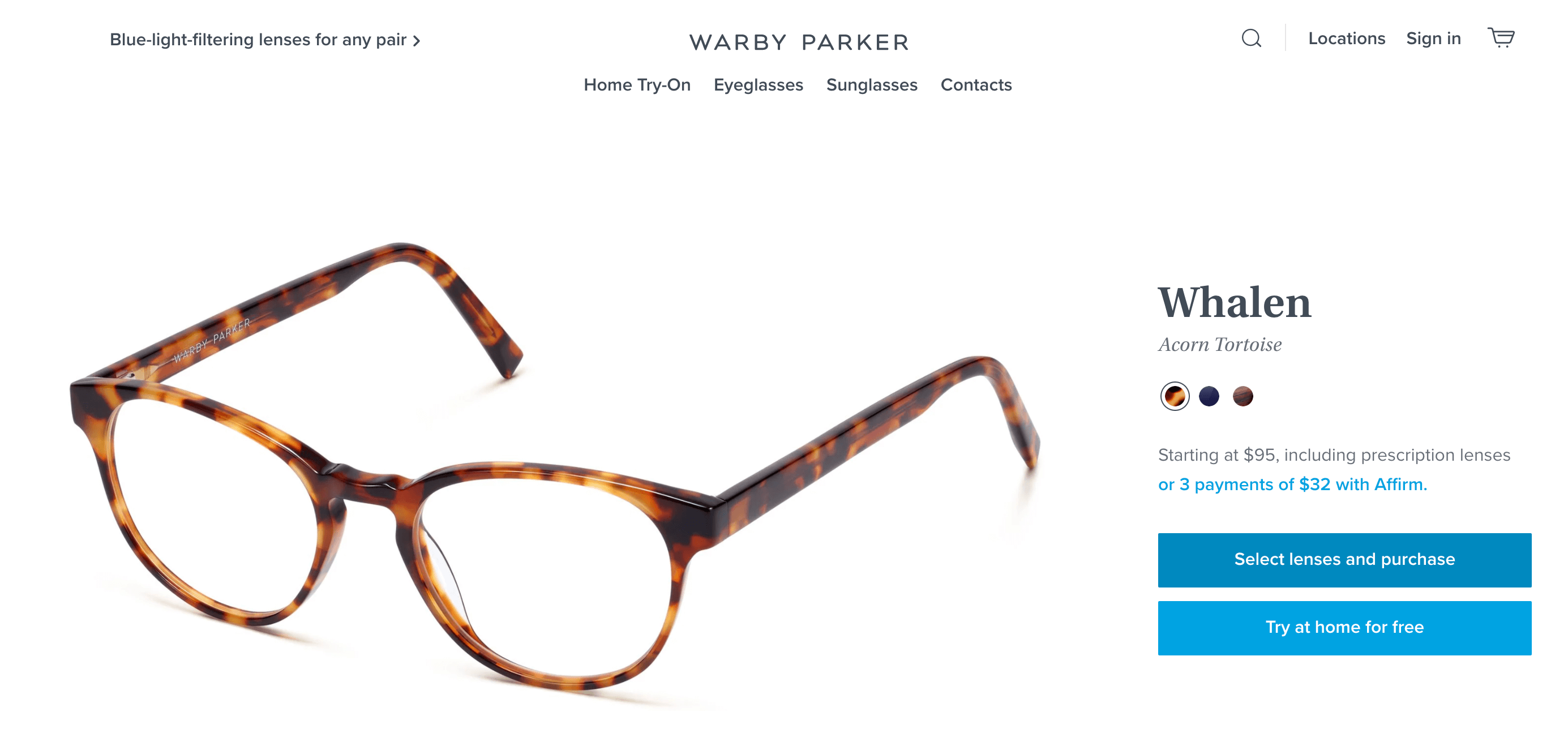 Warby Parker Add To Cart Button