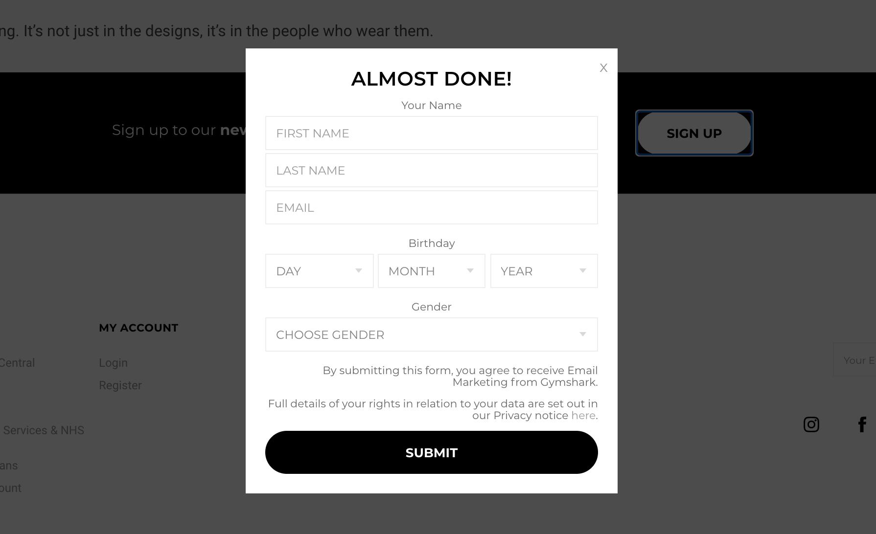 Gymshark's Sign-Up Form