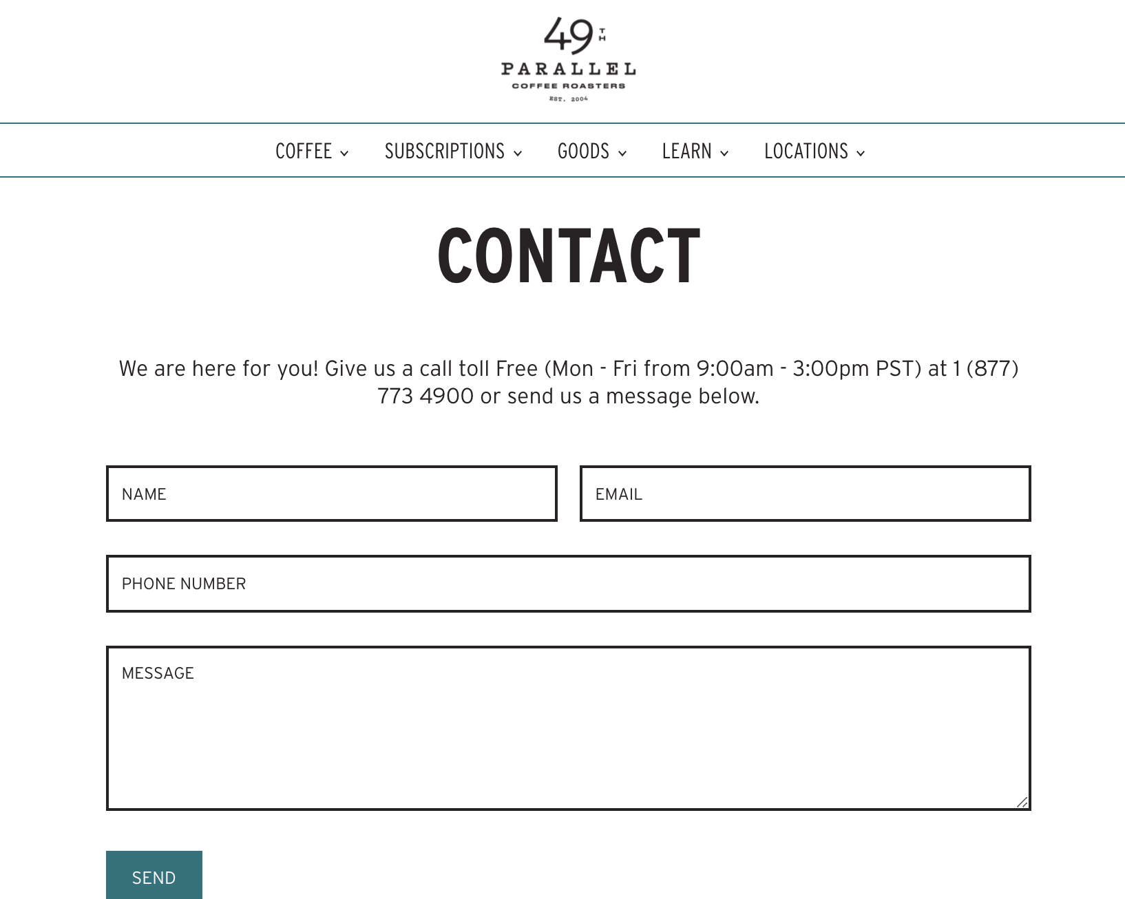 49th Coffee's Contact Form