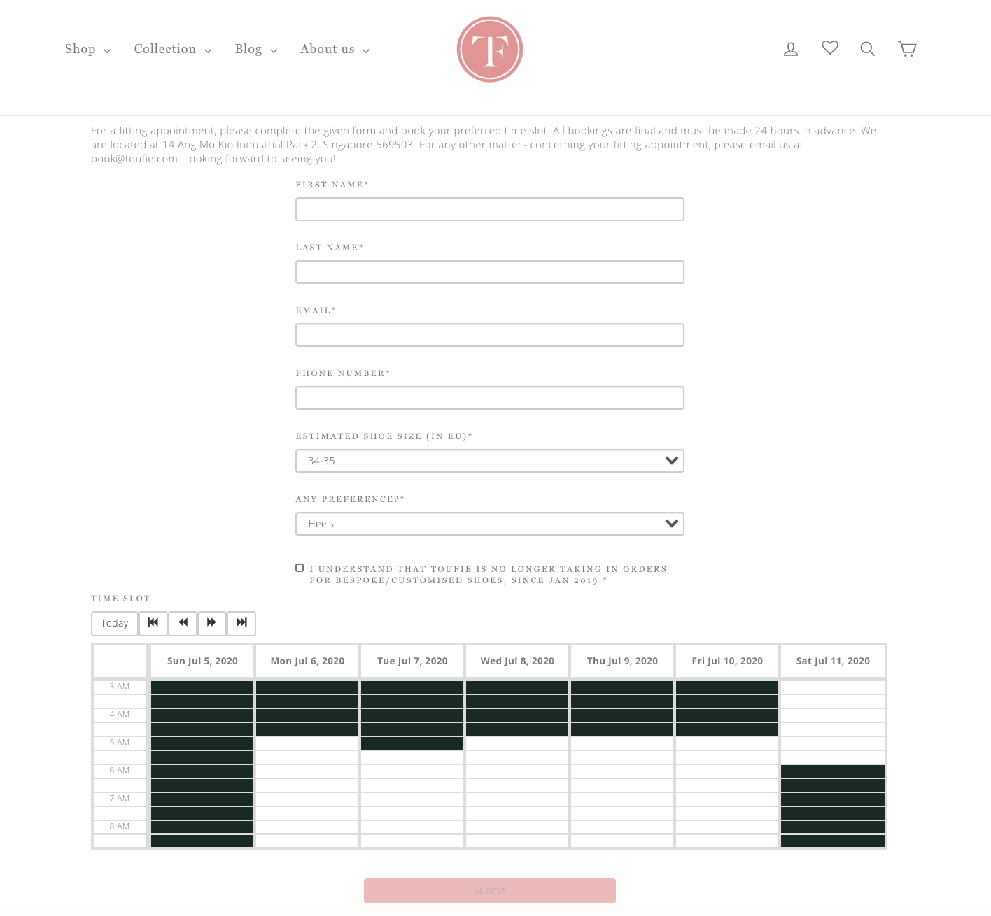 Toufie's Appointment Booking Form