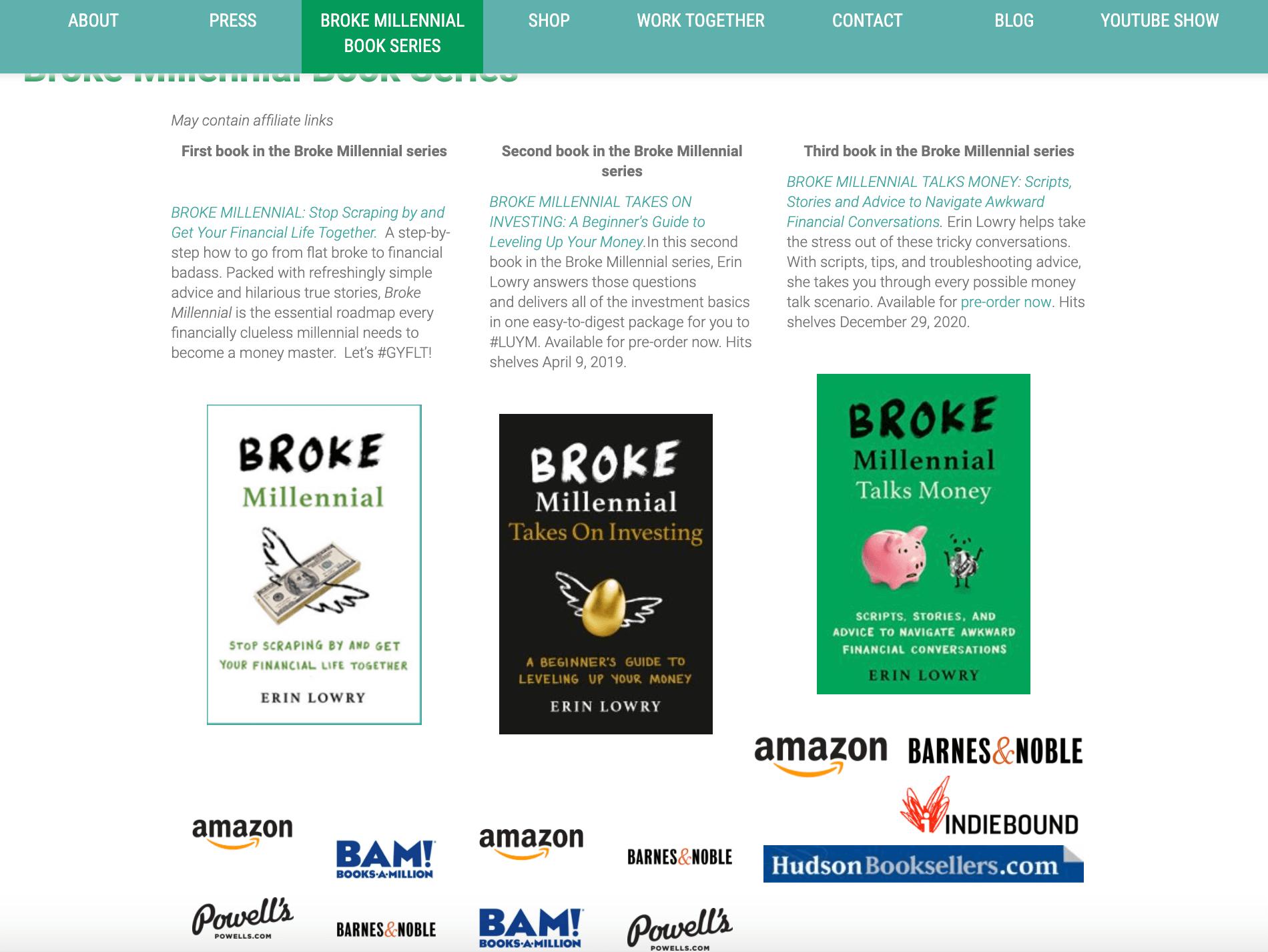 Broke Millennial's Landing Page