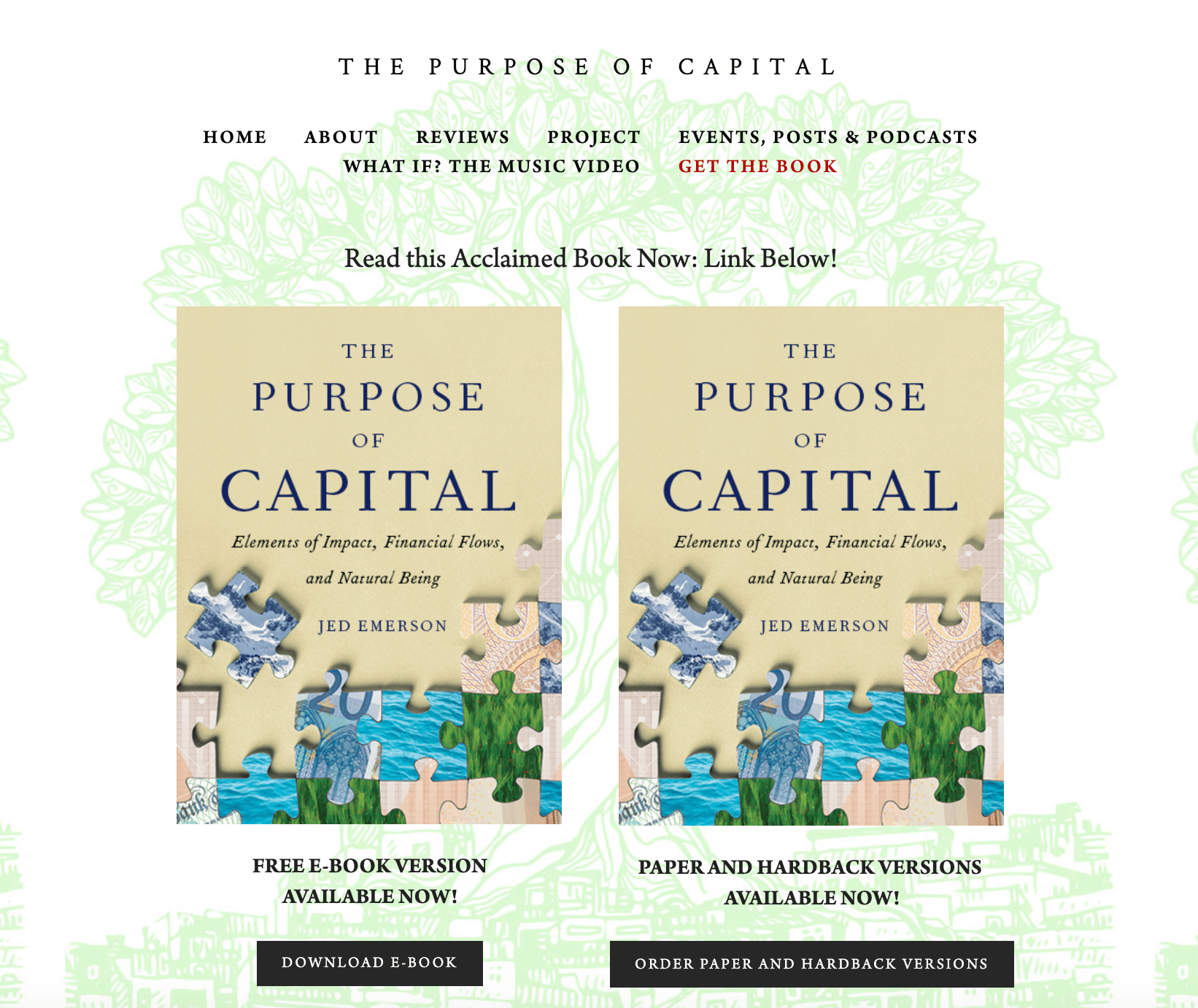 The Purpose of Capital's Book Landing Page