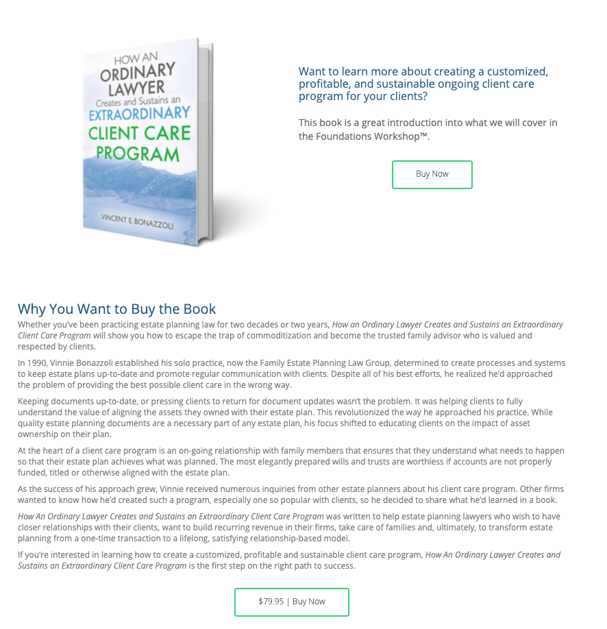 Client Care Academy's Book Landing Page