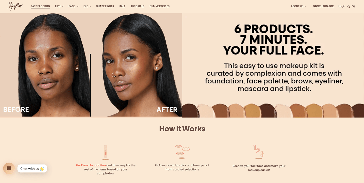 The Lip Bar's Collection Landing Page