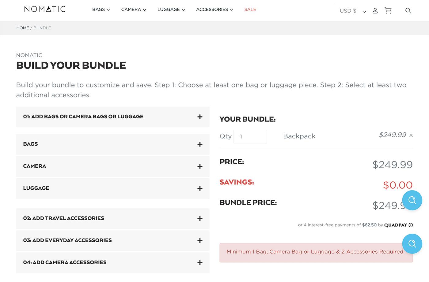 Nomatic custom bundle landing page