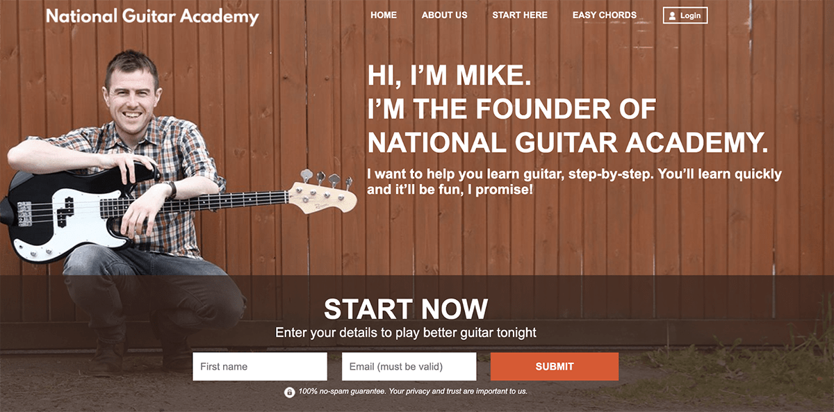 National Guitar Academy Landing Page