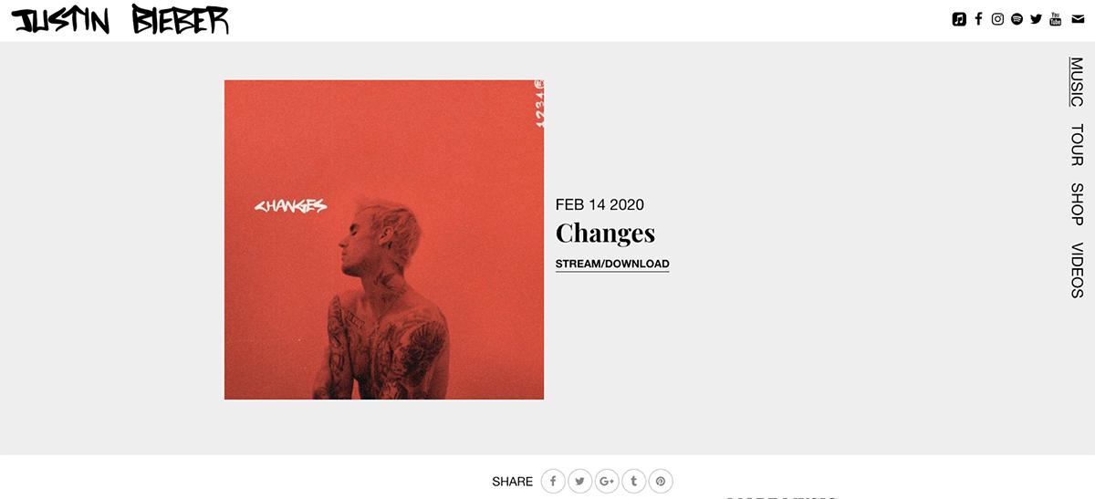 Justin Bieber Music Landing Page