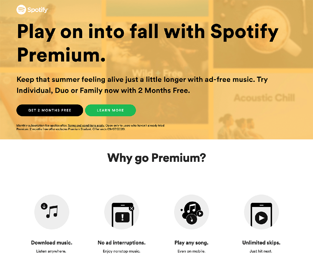 Music Landing Page Templates: Spotify