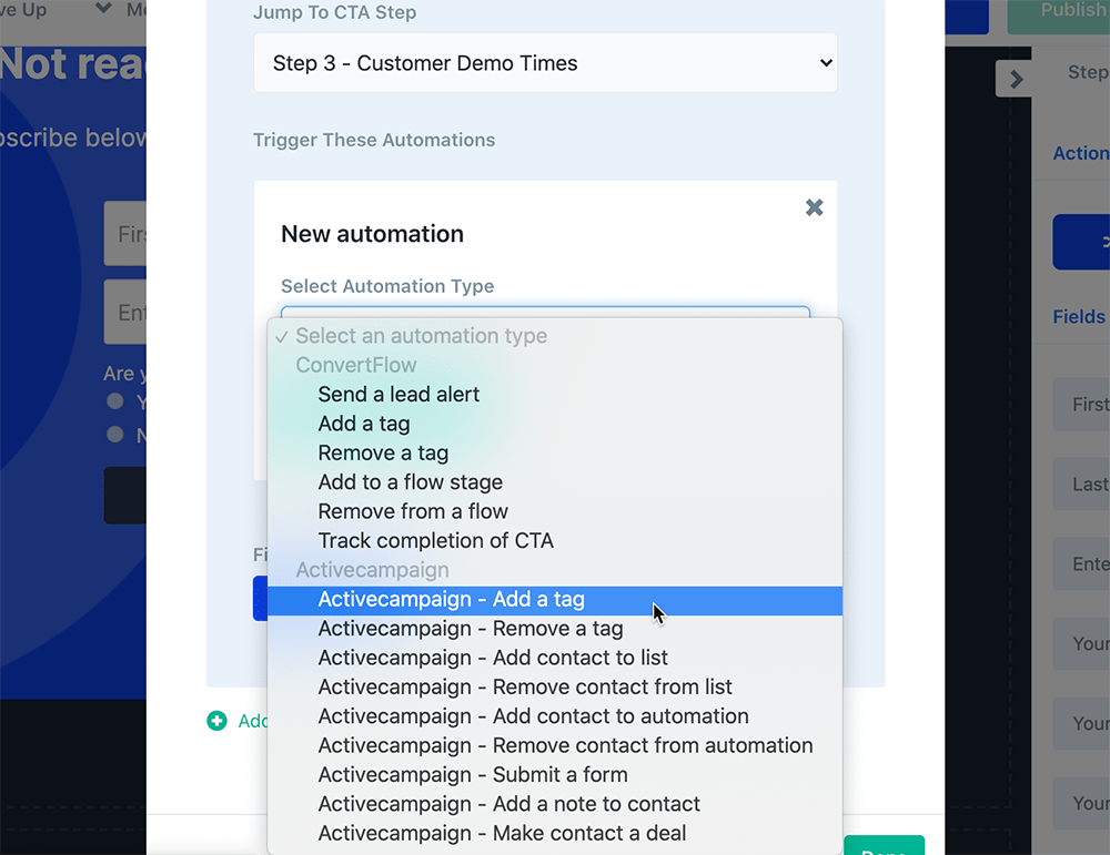 Add a tag in ActiveCampaign or other CRM