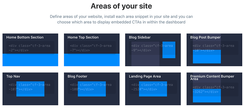 Defined website areas in ConvertFlow