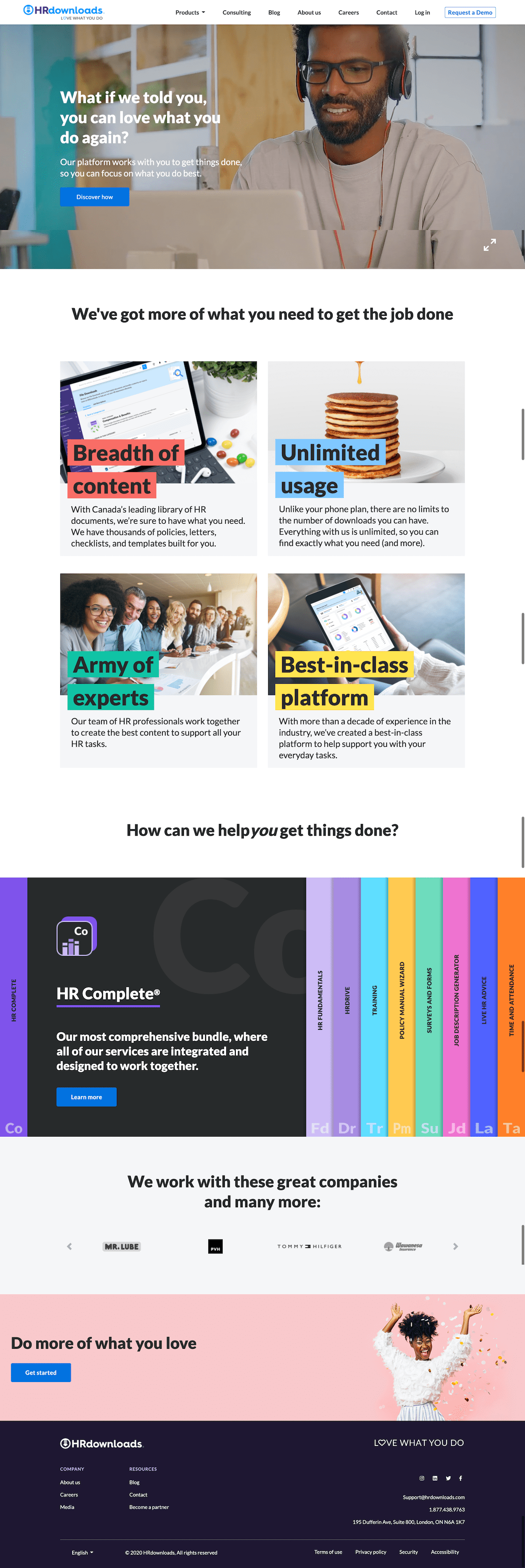HR Downloads Video Landing Page Example