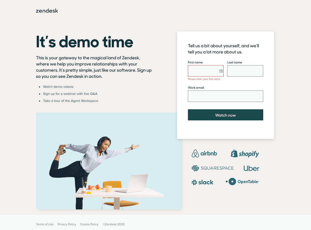Zendesk Video Landing Page Example