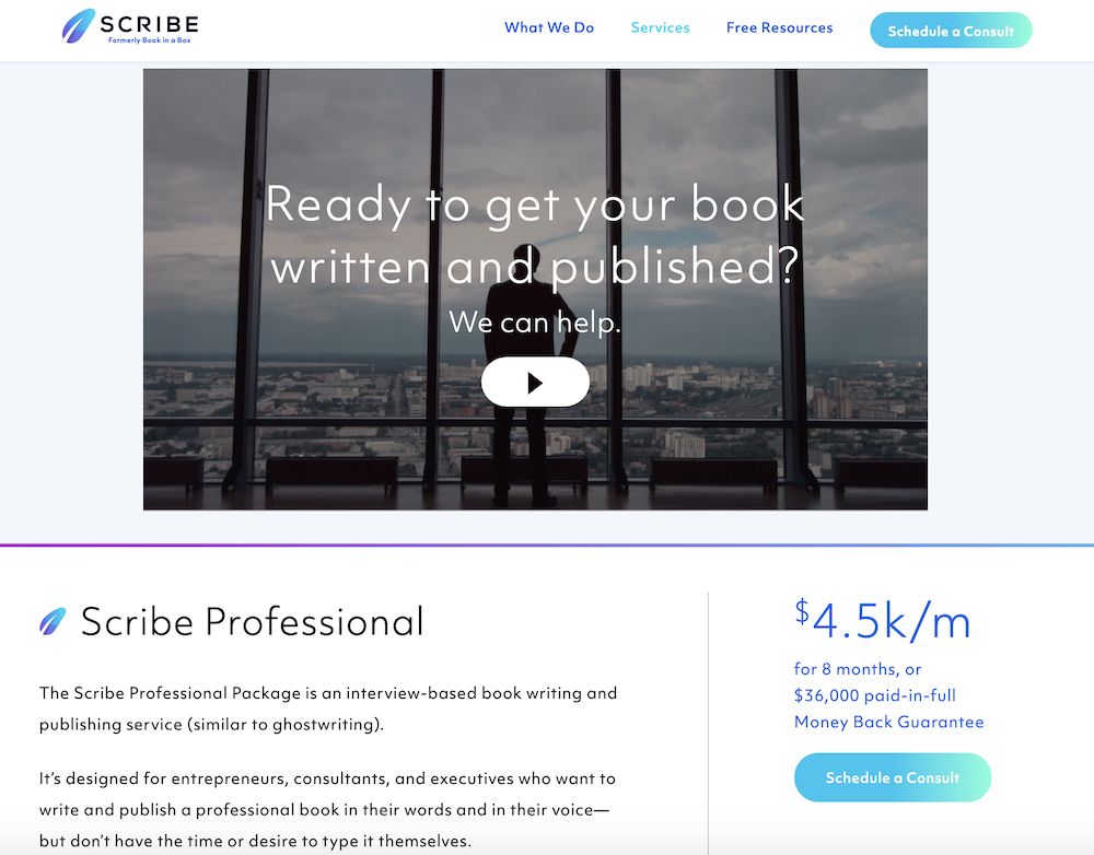 Video landing page templates: Scribe Writing