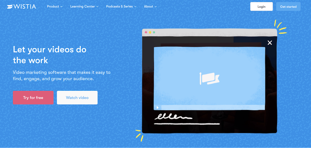 Video landing page examples: Wistia