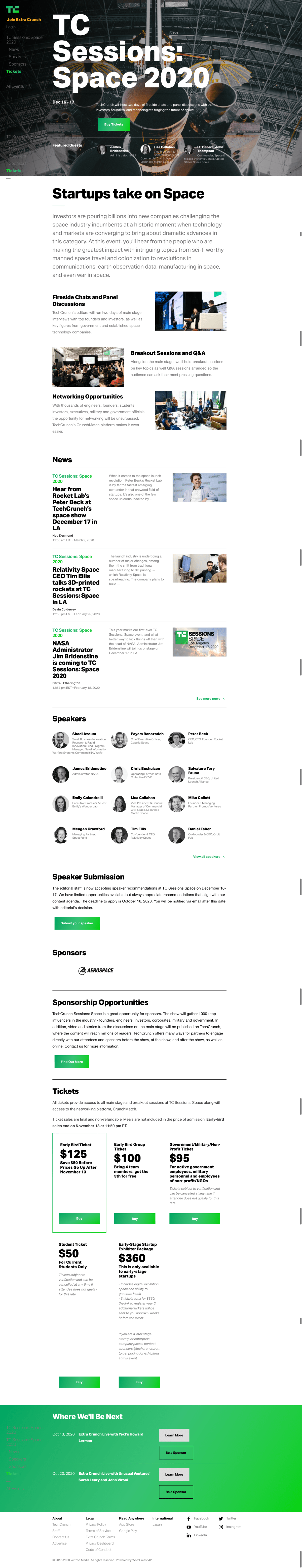 Techcrunch Landing Page Example