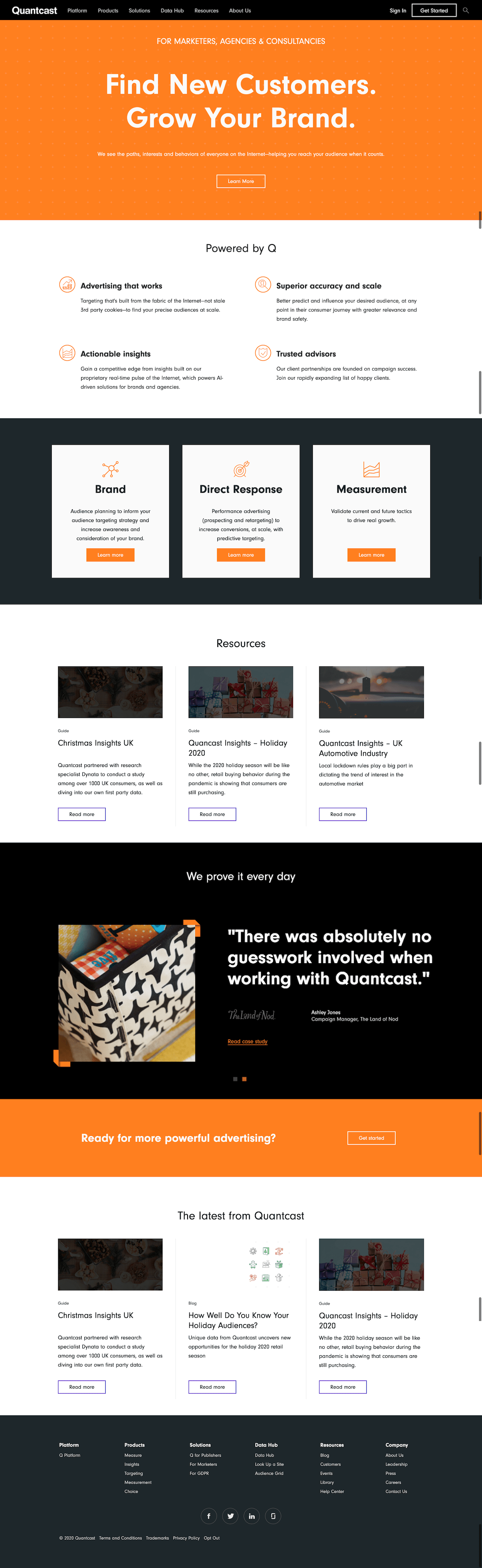 Quantcast Landing Page Example