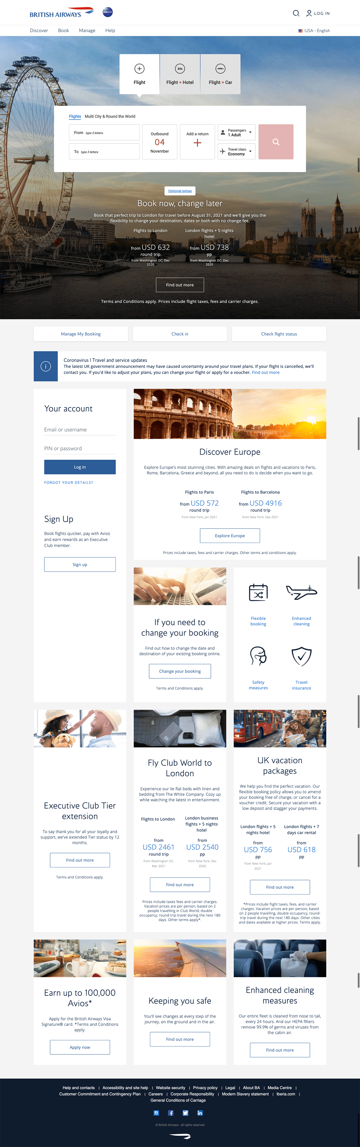 British Airways Travel Landing Page