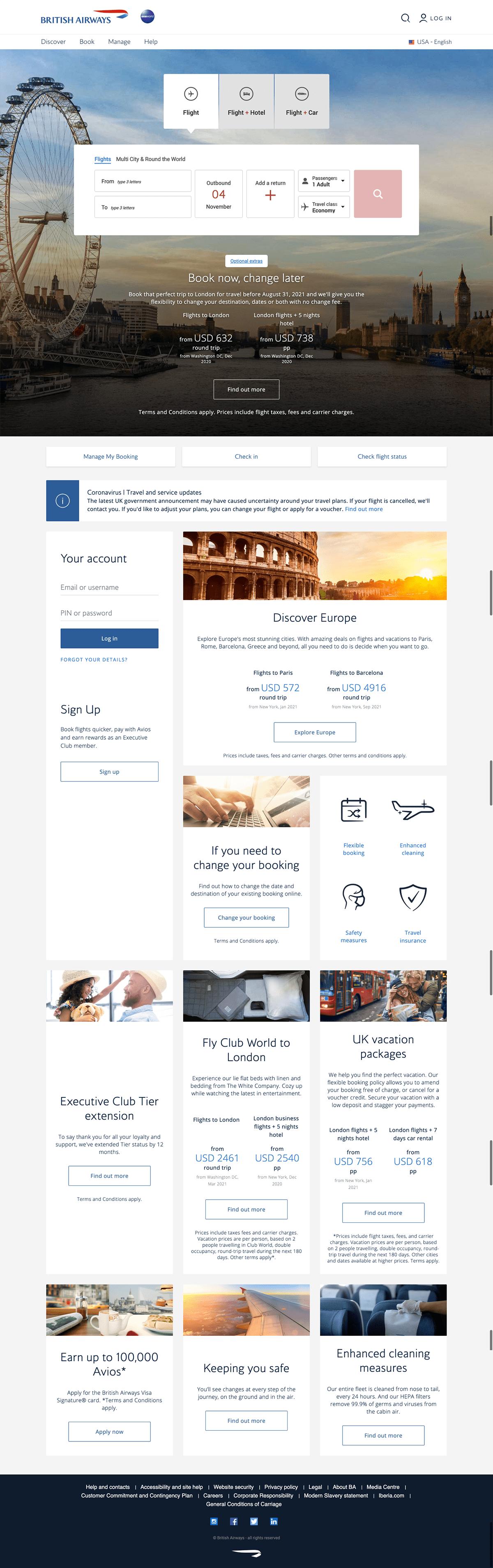 British Airways Travel Landing Page