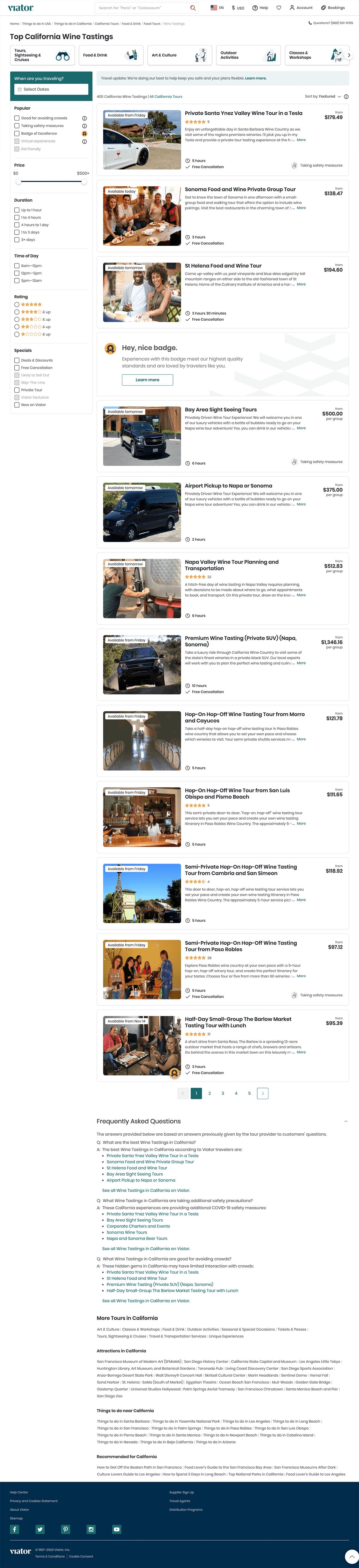 Viator Travel Landing Page