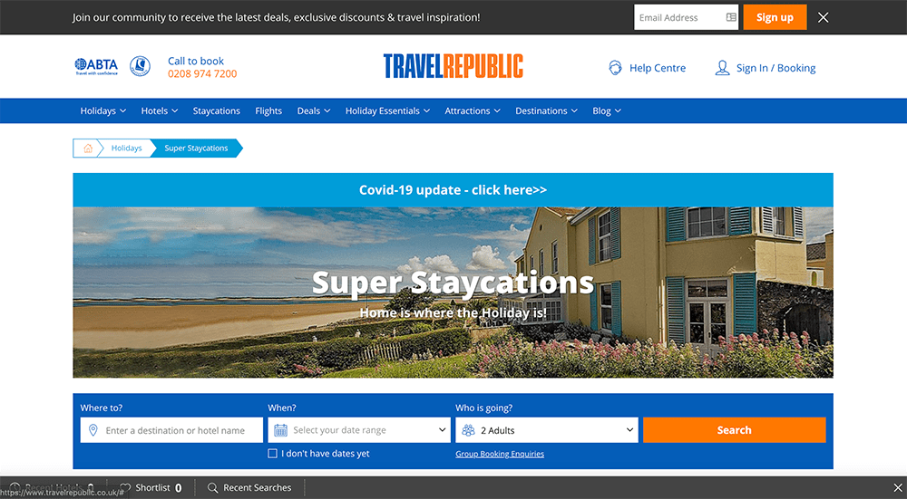 Travel Republic landing page