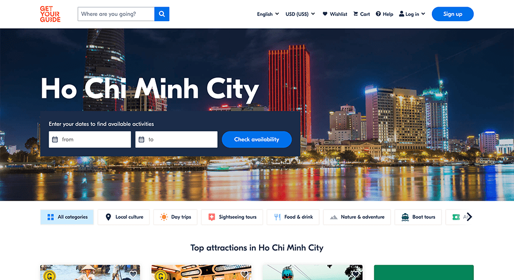 Get Your Guide travel landing page