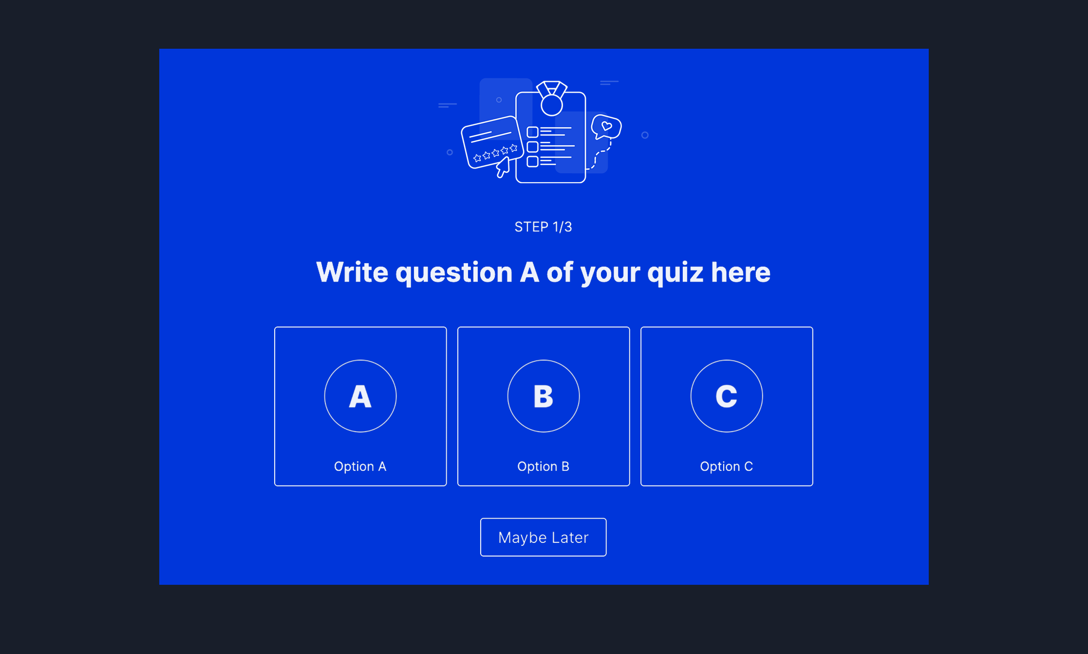 A/B/C Outcome Quiz Popup Template