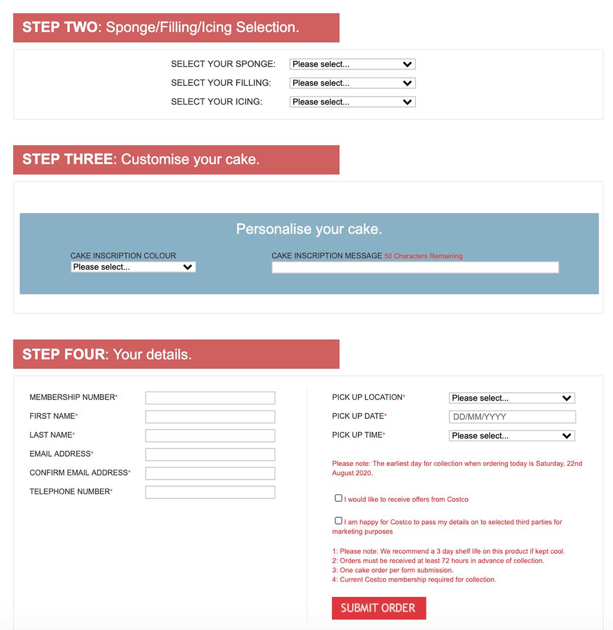 Costco Online Cake Order Form
