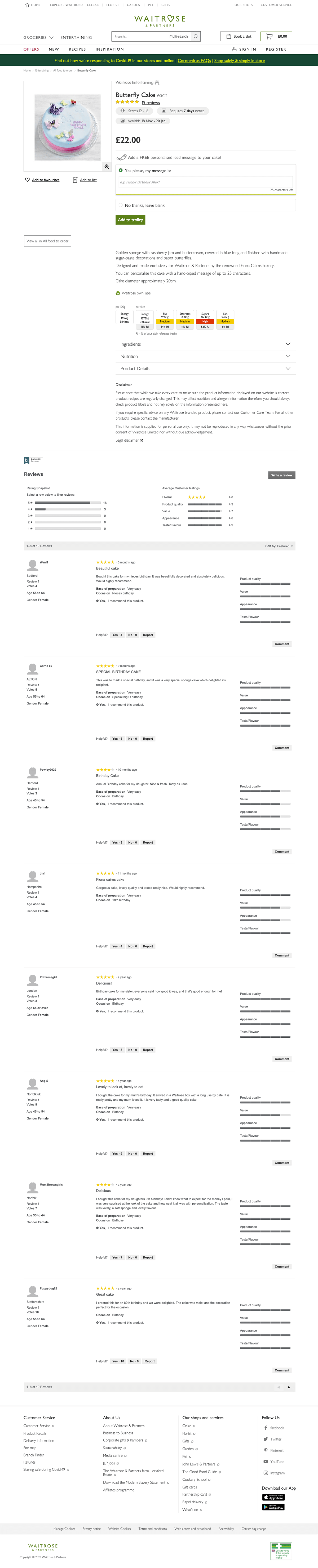Waitrose Online Cake Order Page